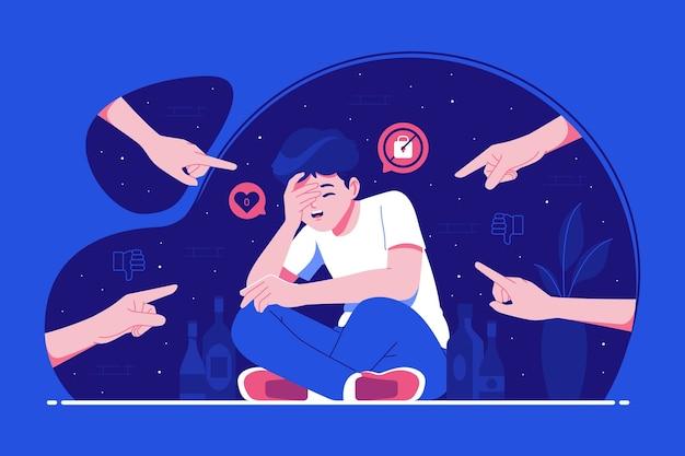Efectos del fondo de ilustración de bullying