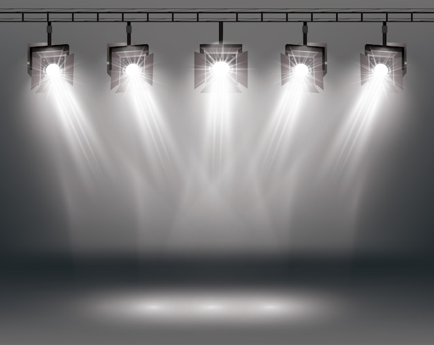 Efectos de iluminación de escena con focos.