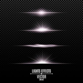 Efectos de luces brillantes aislados en un fondo transparente.