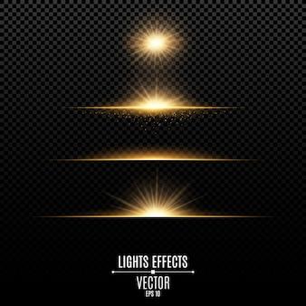 Efectos de luces doradas aislados sobre un fondo transparente.