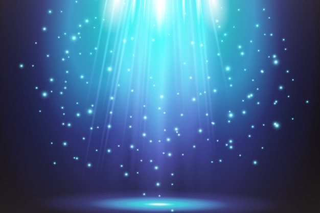 Efectos de luz azul transparente sobre un fondo oscuro. focos, destellos, explosión y estrellas.