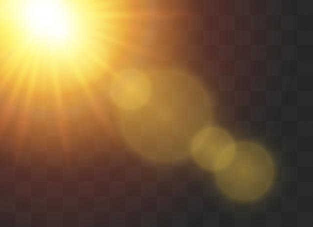 Efectos de luz brillante. resplandor del sol encendido.