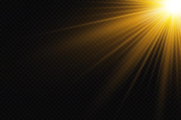 Efectos de luz brillante sobre fondo negro
