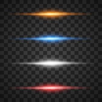 Efectos de luz brillantes, explosión de estrellas con destellos transparentes