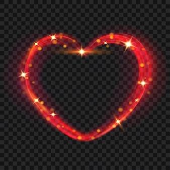 Efectos de luz en forma de corazón en colores rojos