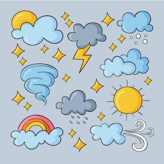 Efectos meteorológicos dibujados a mano