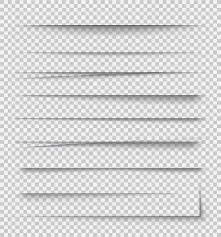 Efectos de sombra de papel realistas transparentes
