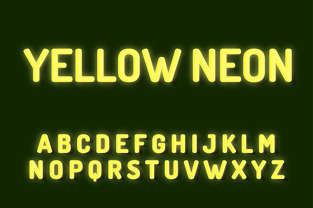 Efectos de texto de alfabeto de fuente de neón amarillo