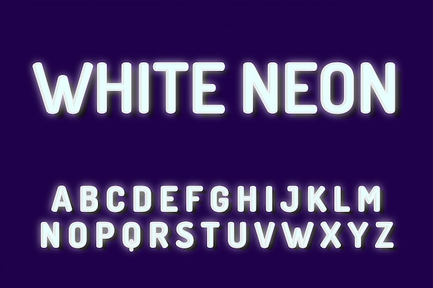 Efectos de texto de alfabeto de fuente de neón blanco