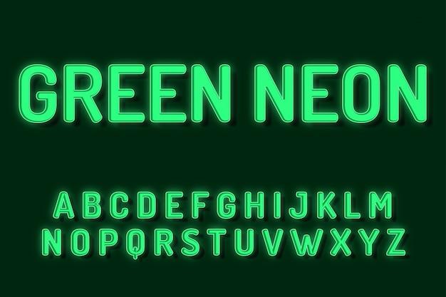 Efectos de texto de alfabeto de fuente de neón verde