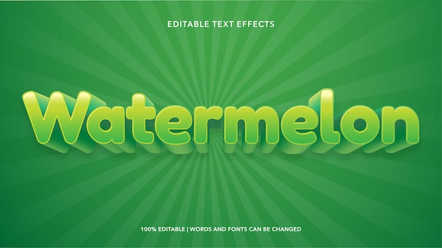 Efectos de texto editables de sandía