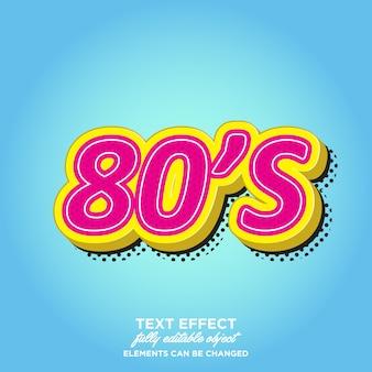 Efectos de texto de estilo 3d de los 80