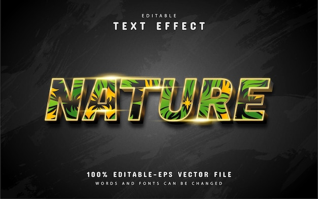 Efectos de texto de la naturaleza aislados en negro