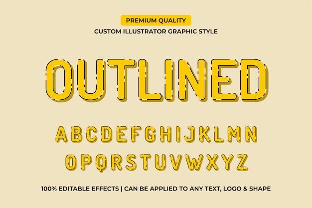 Efectos de texto vectorial editable amarillo contorneado
