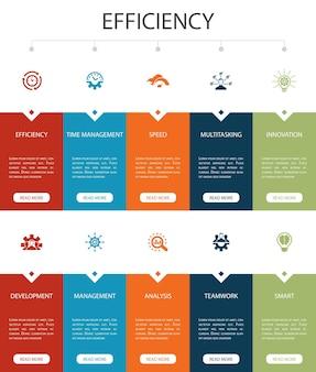 Eficiencia infografía 10 opciones de diseño de interfaz de usuario.gestión del tiempo, velocidad, multitarea, iconos simples de trabajo en equipo