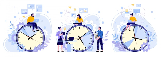 Eficiencia en el tiempo de trabajo. horas de trabajo en equipo de hombres, mujeres y trabajadores. set de trabajadores independientes, relojes de productividad y personas que trabajan en ilustraciones de portátiles. planificación de horarios, gestión del tiempo.