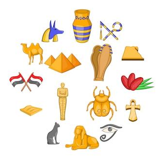 Egipto conjunto de iconos de viaje, estilo de dibujos animados