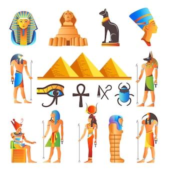 Egipto cultura símbolos vector iconos aislados de dioses y animales sagrados