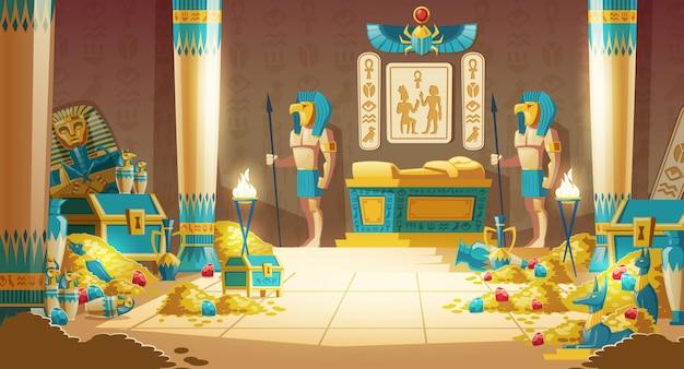 Egipto faraón tumba o caricatura del tesoro con guerreros en máscaras, lanzas armadas