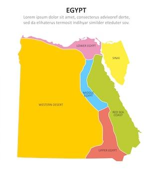 Egipto multicolor mapa con regiones.