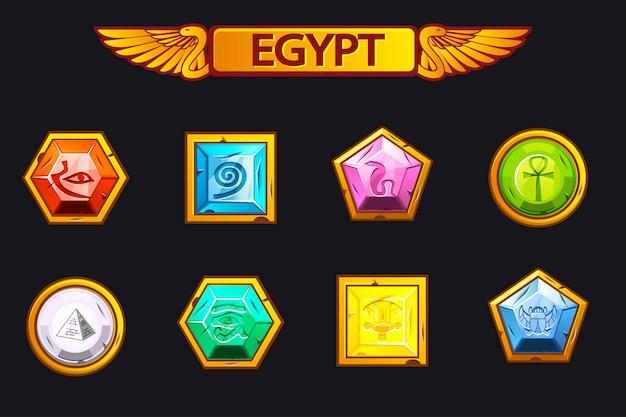 Egipto piedras preciosas y multicolores, iconos de activos de juego