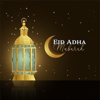 Eid adha mubarak con linterna de oro realista y fondo oscuro de luna