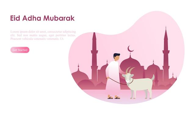 Eid adha mubarak y plantilla de hajj