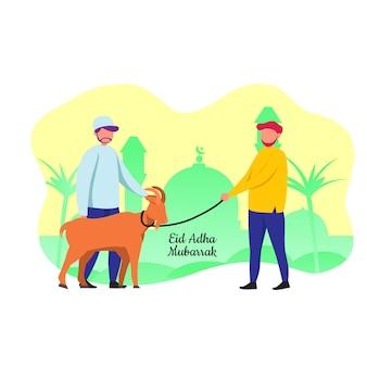 Eid adha mubarrak musulmán trae cabra para el festival sacrificado
