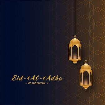 Eid al adha con lámparas colgantes doradas.