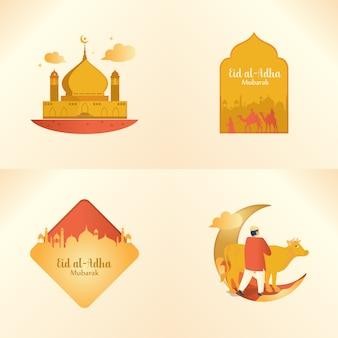 Eid al-adha mubarak en un conjunto de paquetes