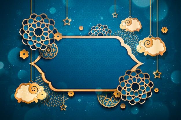 Eid al adha con ovejas colgantes y patrón floral en arte de papel, fondo azul.