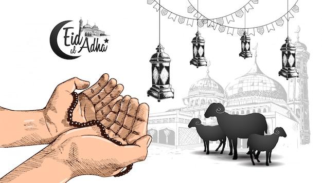 Eid al adha ramadan diseño con mano rezando