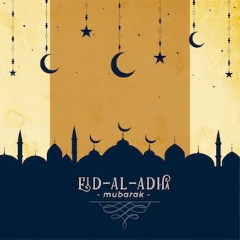 Eid al adha saludando con mezquita y estrella de luna
