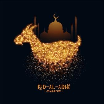 Eid al adha saludo con cabra y mezquita.