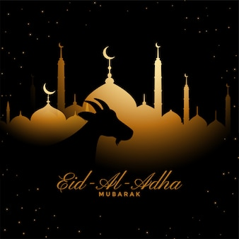 Eid al adha tradicional festival de oro de fondo