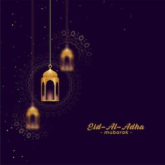Eid al asha saludos con lamparas doradas.