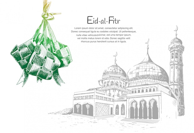 Eid al fitr con ketupat y mezquita. Vector Premium