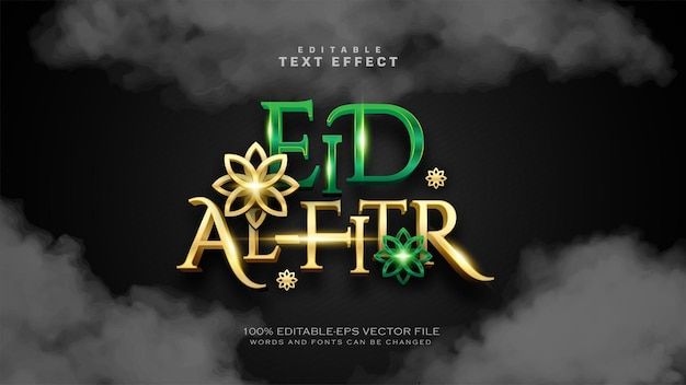 Eid al fitr de lujo o eid mubarak text effect