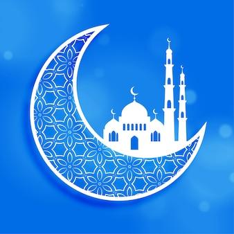 Eid festival luna y mezquita de fondo