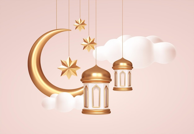 Eid mubarak 3d símbolos realistas de las fiestas árabes islámicas