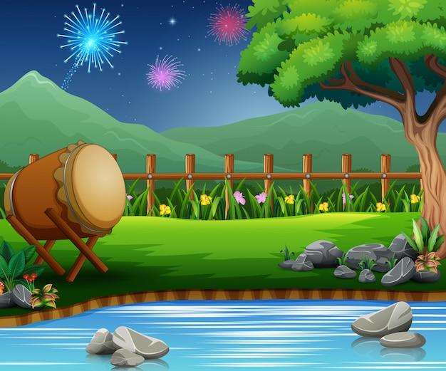 Eid mubarak celebración en la hermosa naturaleza