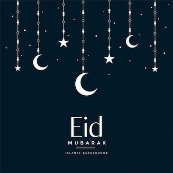 Eid mubarak colgando luna y estrellas de saludo