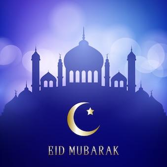 Eid mubarak decorativo con siluetas de mezquita en un diseño de luces bokeh