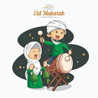 Eid mubarak con dibujado a mano ilustración islámica vector