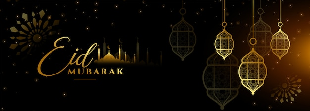 Eid mubarak diseño de banner de festival negro y dorado