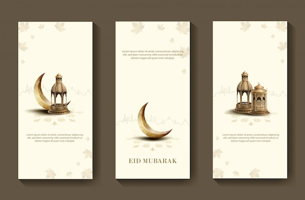 Eid mubarak diseño de folleto islámico