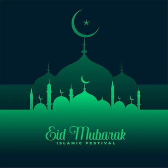 Eid mubarak diseño mezquita verde
