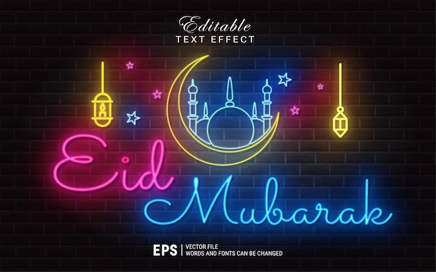 Eid mubarak efecto de estilo de texto de luz de neón