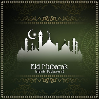 Eid mubarak elegante decorativo verde.
