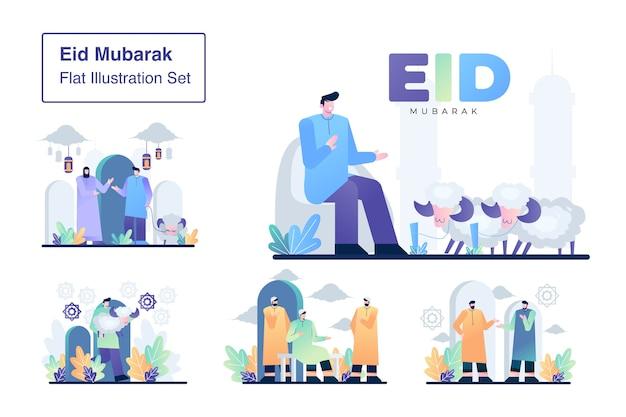 Eid mubarak establece ilustración plana